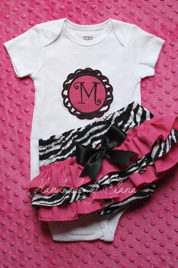 Zebra and Hot Rink Ruffle Bottom Bloomers with Matching Applique Initial Onesie short or long sleeve