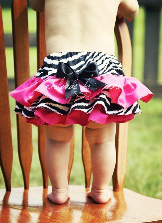 Zebra and Hot Pink Pink Ruffle Bottom Bloomers