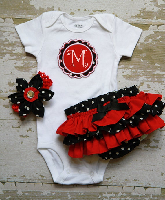 Black and White Polka dot and Red Ruffle Bottom Bloomers and matching Headband and Applique Onesie