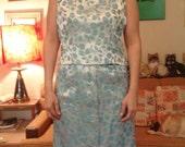 sale 4 pieces 60s vintage metallic blue brocade formal suit. medium large bust 40 waist 28