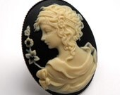 Large Cameo Ring Mademoiselle Victorian Lady in Ivory White on Black Vintage Style Nostalgic Chic Romantic - Free Size