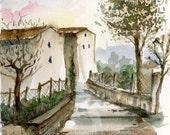 italy watercolor- Village in Spring Rain- art print