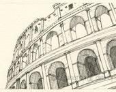 Rome Italy sketch - Coliseum, Rome - art drawing print