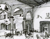 italian cafe sketch- Cafe Ignorante- 4x6 print