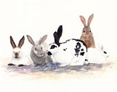 rabbit painting- Bunnies- watercolor animal print