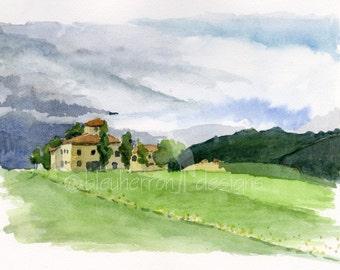 Italian landscape- Approaching Storm- art watercolor print