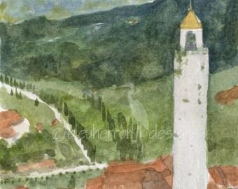 Italy watercolor- San Gimigano Tower- art print