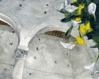 italy painting- Flowers in Old Stone Church- watercolor print