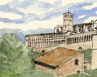 Italian Art- Basilica of St. Francis- watercolor drawing print