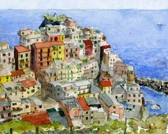 Italy watercolor painting- Cinque Terre-Manarola - art print
