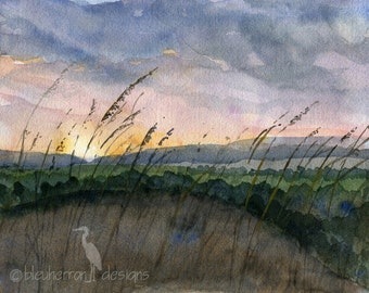 watercolor landscape- Prairie Sunset- art print