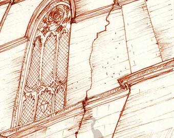 gothic architecture sketch- Unsolid Foundation- art print