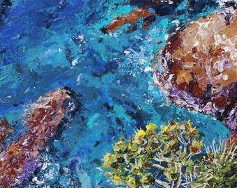 ocean landscape painting- Aqua Bay- acrylic art print