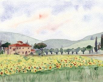 Italian Sunflowers - watercolor landscape art print
