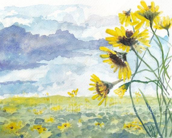 watercolor landscape- Wild Sunflower- flower art print