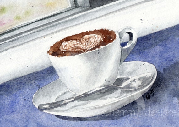 food art coffee- My Cappuccino Heart- watercolor art print