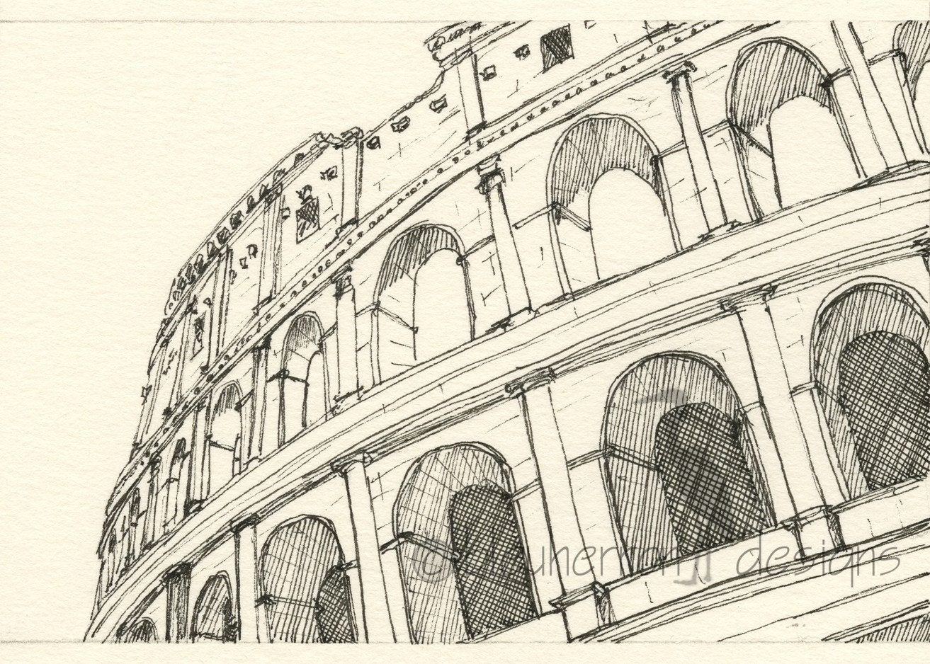 Rome italy sketch coliseum rome art drawing print for Printing architectural drawings