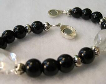 Bracelet Black Glass and Two Quartz