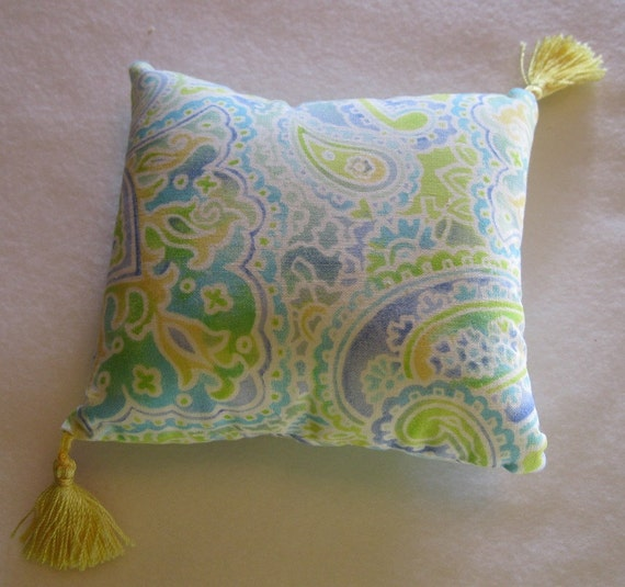 Sachet Pillow Roses Green Blue and Yellow Tassels