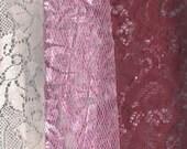 Lace Fat Quarters, 3 FQs Pink, Burgandy, White FQ0002