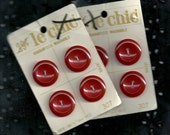 Vintage Red Buttons on Cards Plastic B0016