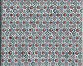 Vintage Geometric Fabric Red Blue and White  3 3/4 Yard 100% Cotton X0138