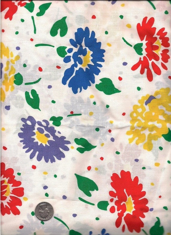 Colorful Floral Print Fabric 3 Yards Polyester/Cotton Blend Y0019