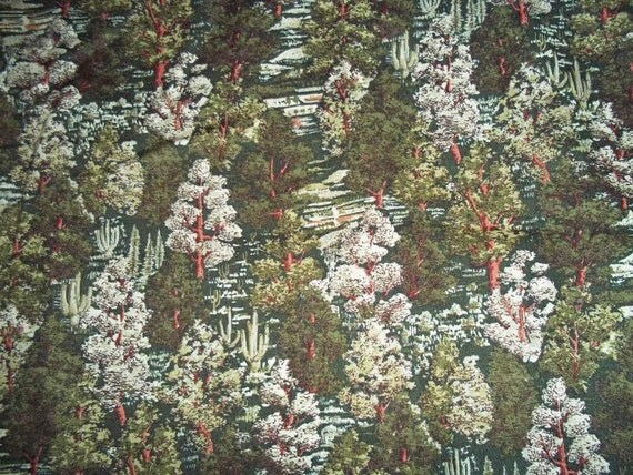 Half Price Forest Green Foilage Print Fabric 2 Yards 100% Cotton Y0048