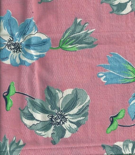 Bubblegum Pink Cotton Fabric Vintage Blue and Grey Flowers 1 Yard Y0264