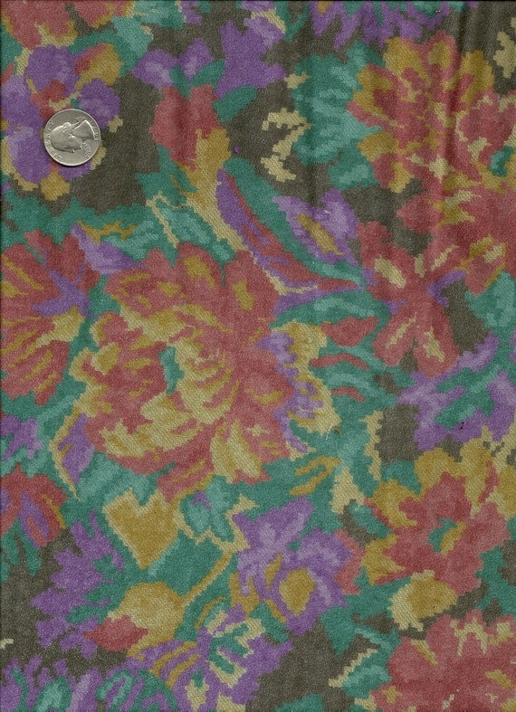 Half Price Floral Knit Fabric Purple Rust Needlepoint Look 2 1/4 Yards Stretch X0046