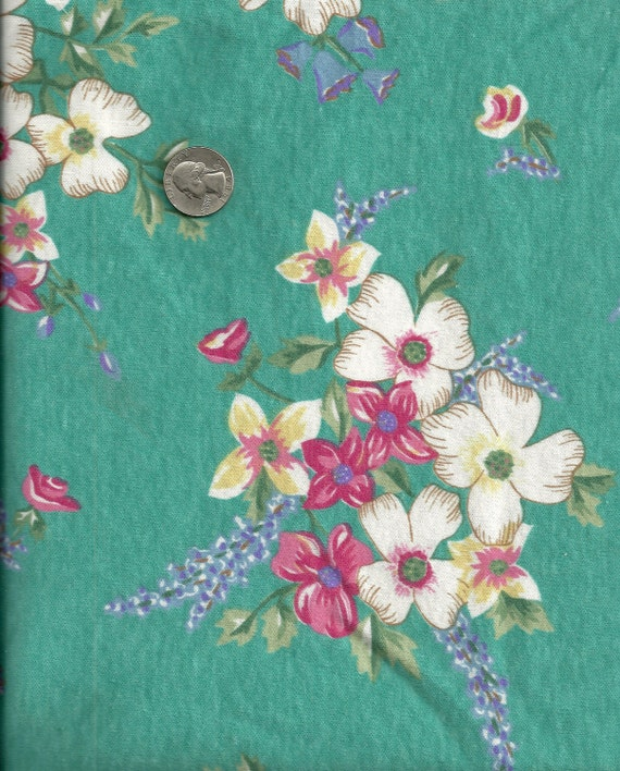 Floral Knit Fabric Pink, Purple, Blue 1 1/4 Yards Stretch X0065