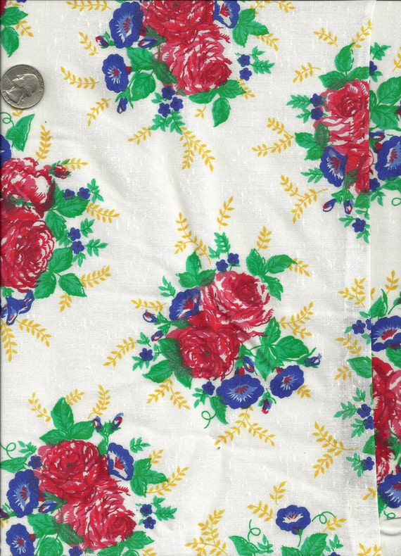 Floral Print Fabric 3 Yards Polyester/Cotton Blend X0104 Roses