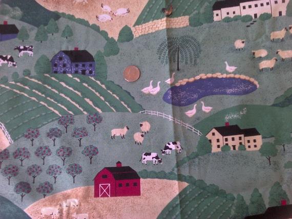 Farm Print 1 Yard Cotton Fabric X0137 Fields, Pastures, Barn, Cows