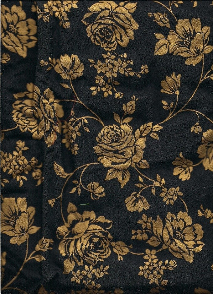 Black and Gold Floral Print Fabric 2 Yards 100% Cotton Y0129