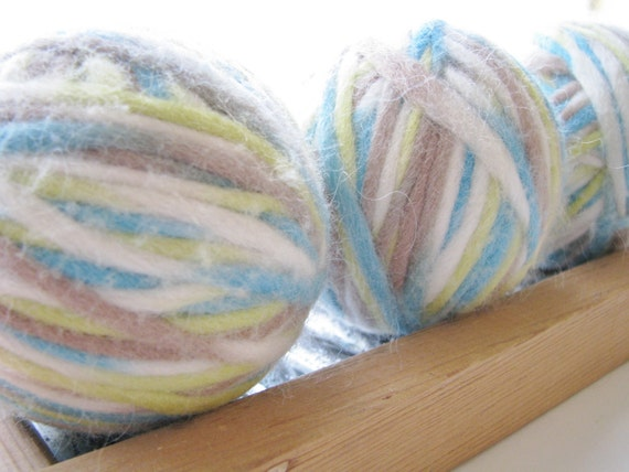 Felted Wool Dryer Ball Set Teal Lime