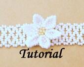 Beadweaving Tutorial Pattern  - Flower on Net Bracelet