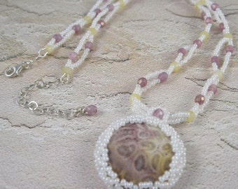 Pink Yellow White Necklace - Beadwoven Coral Fossil