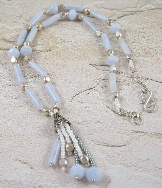 Pastel Blue Lace Agate Stone Necklace - with Fringe