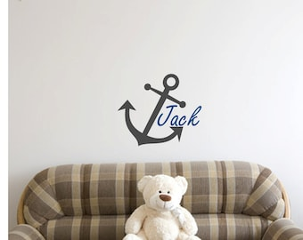 Boy's Name and Anchor Personalized Wall Decal - WAL-2102
