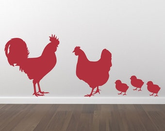 Rooster Chicken and Chicks Wall Decals - Removable Wall Decal - Matte Vinyl Wall Decal Pack WAL-A144