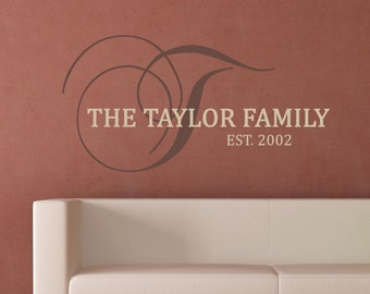 Family name with Monogram Letter and Year Personalized Wall Decal - WAL-2129