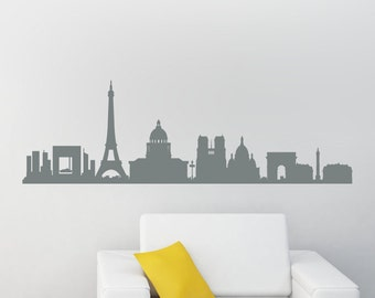 Paris Skyline Wall Decal Large - Eiffel Tower Decal - Paris Skyline Decal - Removable Matte Wall Decal WAL-A136