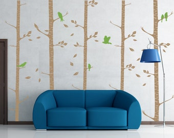 Birch Trees Wall Decal - Birch Trees with Birds Wall Sticker Tree Wall Decor - WAL-2111