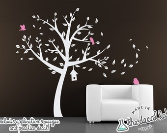 Tree with Blossoms, Birds, and Birdhouse Wall Decal - WAL-2126