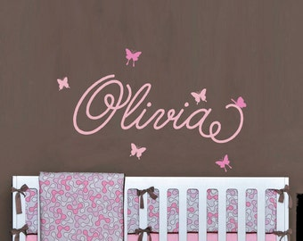 Girl's Name with Butterflies Personalized Wall Decal - WAL-2123