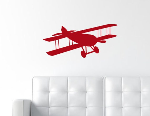 Biplane Wall Decal Vintage Airplane Decal Propeller By Decallab