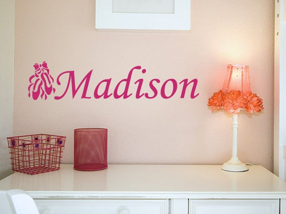 Girl's Name with Ballet Slippers Personalized Wall Decal - WAL-2148