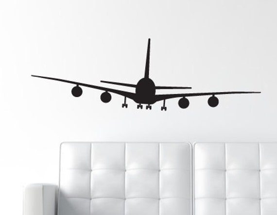 Airplane Wall Decal Jumbo Jet Wall Decal Plane Vinyl Wall