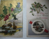 Two Vintage Christmas Post Cards,  1 Davidson Bros. Printed in GERMANY