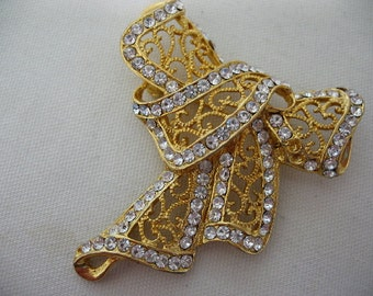 Gold Tone Filigree Bow Brooch with Rhinestones